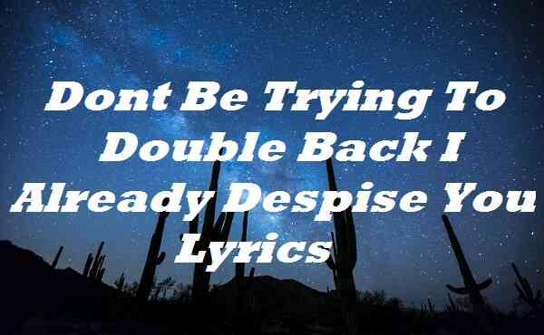 Dont Be Trying To Double Back I Already Despise You Lyrics