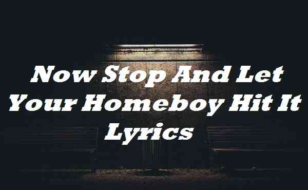 Now Stop And Let Your Homeboy Hit It Lyrics