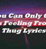 You Can Only Get This Feeling From A Thug Lyrics