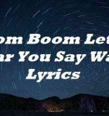 Boom Boom Let Me Hear You Say Wayo Lyrics