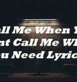 Call Me When You Want Call Me When You Need Lyrics