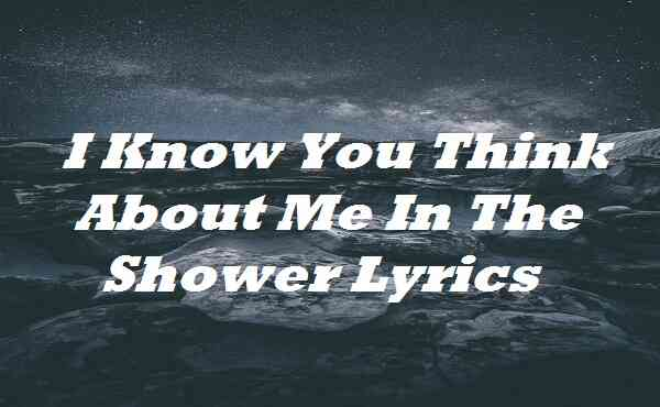 I Know You Think About Me In The Shower Lyrics