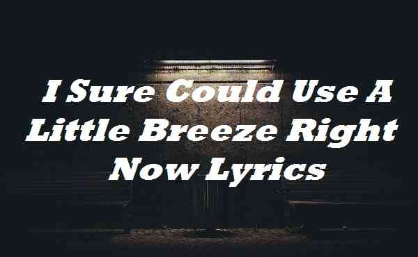 I Sure Could Use A Little Breeze Right Now Lyrics