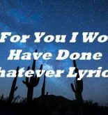 Oh For You I Would Have Done Whatever Lyrics