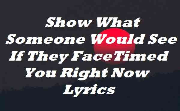 Show What Someone Would See If They FaceTimed You Right Now Lyrics
