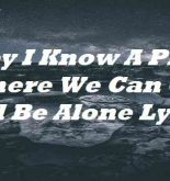 Baby I Know A Place Where We Can Go And Be Alone Lyrics