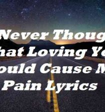 I Never Thought That Loving You Would Cause Me Pain Lyrics