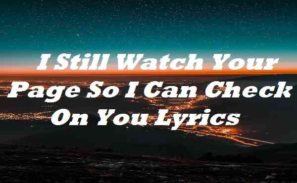 I Still Watch Your Page So I Can Check On You Lyrics