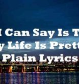 All I Can Say Is That My Life Is Pretty Plain Lyrics