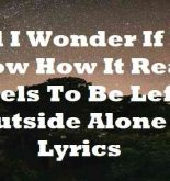 And I Wonder If You Know How It Really Feels To Be Left Outside Alone Lyrics
