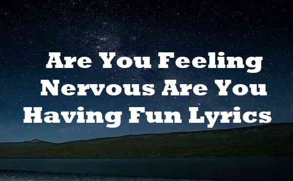 Are You Feeling Nervous Are You Having Fun Lyrics