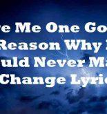 Give Me One Good Reason Why I Should Never Make A Change Lyrics