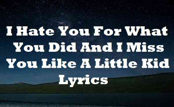 I Hate You For What You Did And I Miss You Like A Little Kid Lyrics