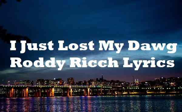 I Just Lost My Dawg Roddy Ricch Lyrics