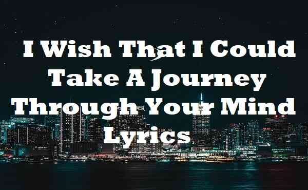 I Wish That I Could Take A Journey Through Your Mind Lyrics