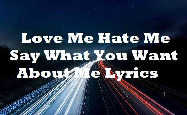 Love Me Hate Me Say What You Want About Me Lyrics