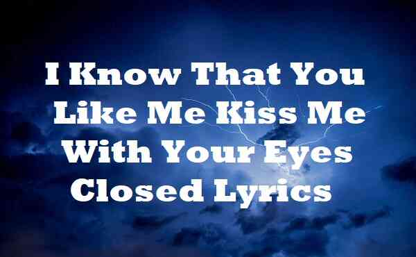 I Know That You Like Me Kiss Me With Your Eyes Closed Lyrics