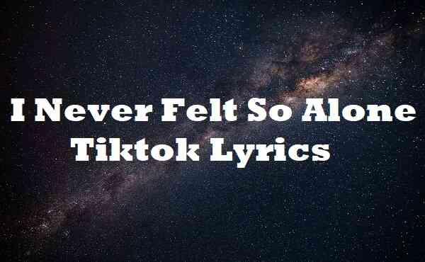 I Never Felt So Alone Tiktok Lyrics