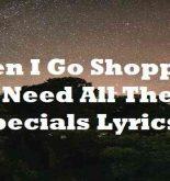 When I Go Shopping I Need All The Specials Lyrics