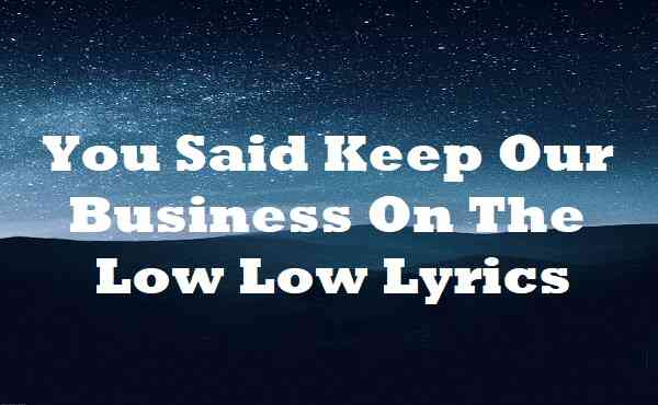 You Said Keep Our Business On The Low Low Lyrics