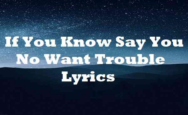 If You Know Say You No Want Trouble Lyrics
