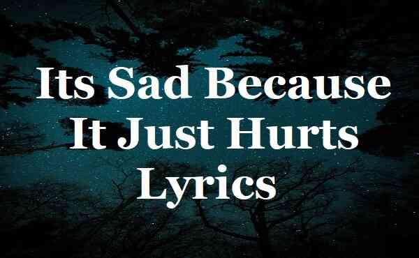 Its Sad Because It Just Hurts Lyrics