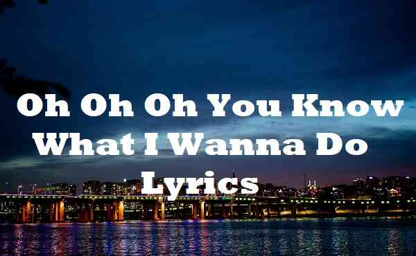 Oh Oh Oh You Know What I Wanna Do Lyrics