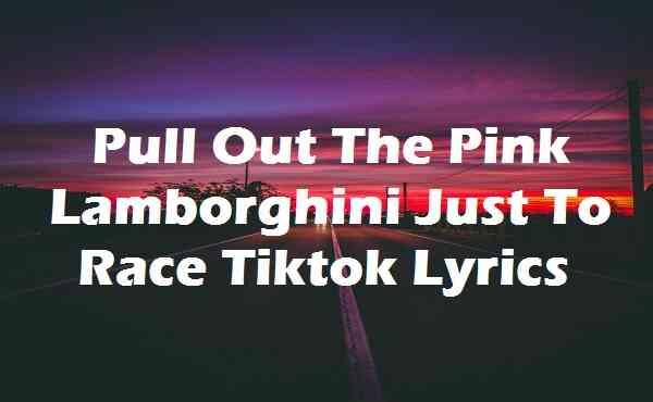 Pull Out The Pink Lamborghini Just To Race Tiktok Lyrics