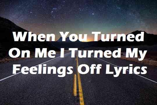 When You Turned On Me I Turned My Feelings Off Lyrics