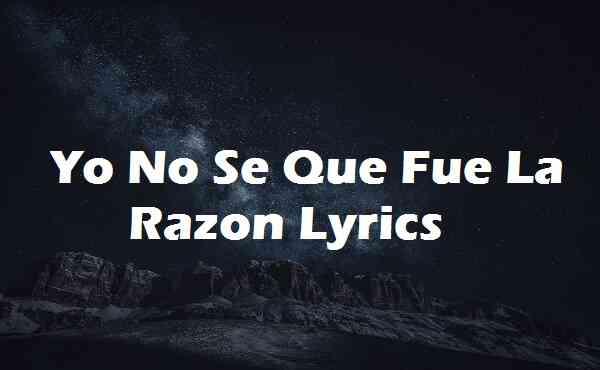 Yo No Se Que Fue La Razon Lyrics