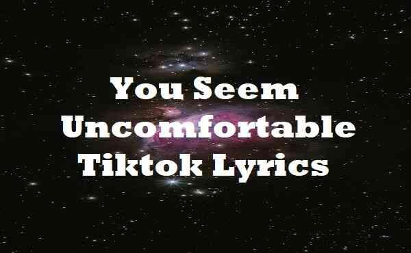 You Seem Uncomfortable Tiktok Lyrics