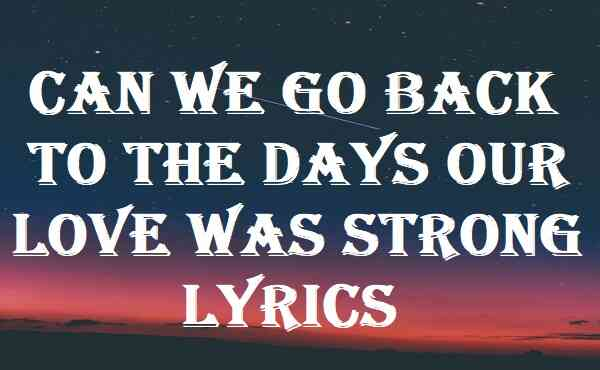 Can We Go Back To The Days Our Love Was Strong Lyrics