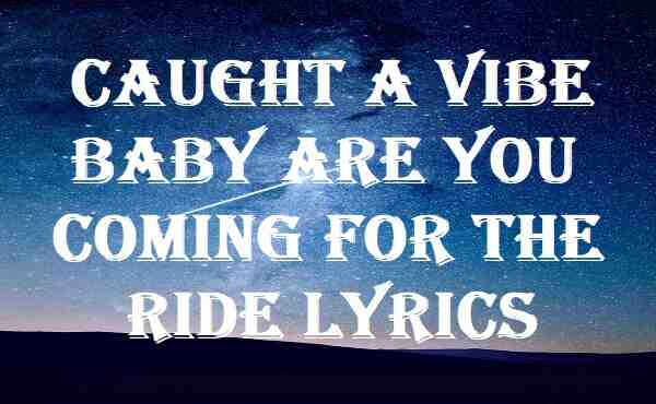 Caught A Vibe Baby Are You Coming For The Ride Lyrics