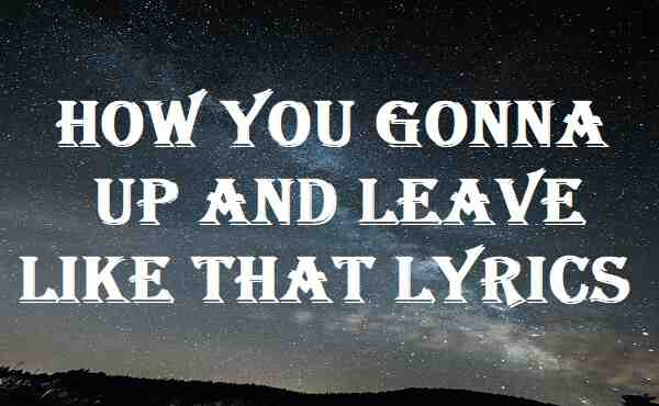 How You Gonna Up And Leave Like That Lyrics