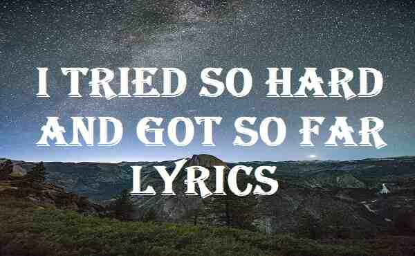 I Tried So Hard And Got So Far Lyrics