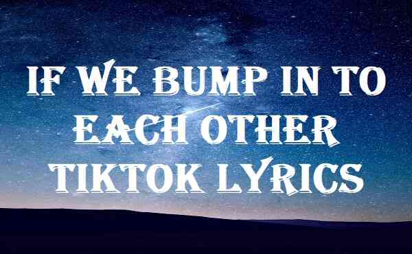 If We Bump In To Each Other Tiktok Lyrics