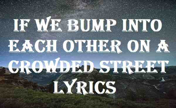 If We Bump Into Each Other On A Crowded Street Lyrics