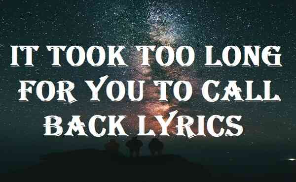 It Took Too Long For You To Call Back Lyrics