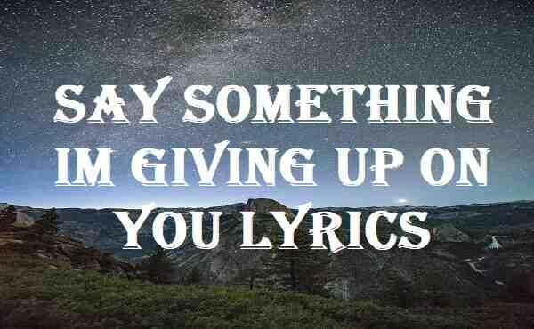 Say Something Im Giving Up On You Lyrics