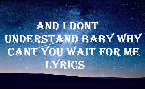 And I Dont Understand Baby Why Cant You Wait For Me Lyrics
