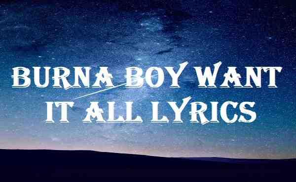 Burna Boy Want It All Lyrics