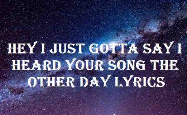 Hey I Just Gotta Say I Heard Your Song The Other Day Lyrics