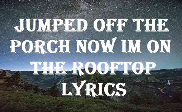 Jumped Off The Porch Now Im On The Rooftop Lyrics