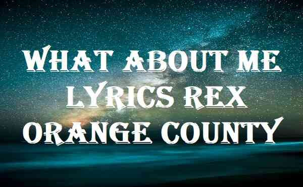 What About Me Lyrics Rex Orange County
